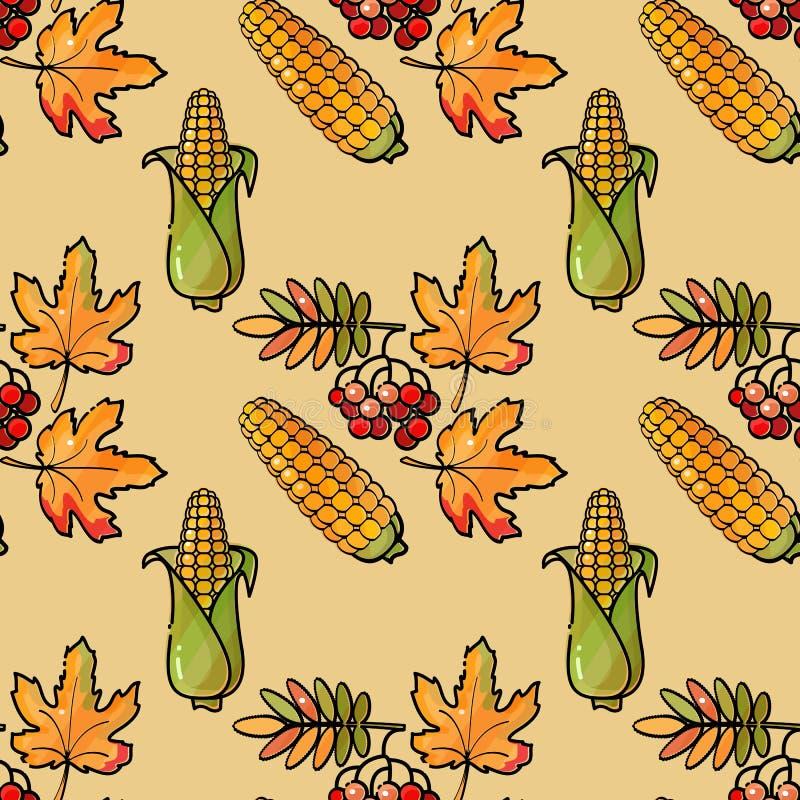 Modèle sans couture avec le maïs, la sorbe et les feuilles Fond de vecteur illustration libre de droits