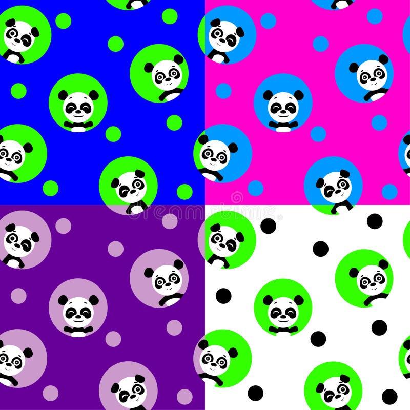 Modèle sans couture avec le panda de kawaii Illustration de vecteur illustration stock