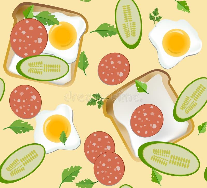 Modèle sans couture avec le petit déjeuner illustration stock