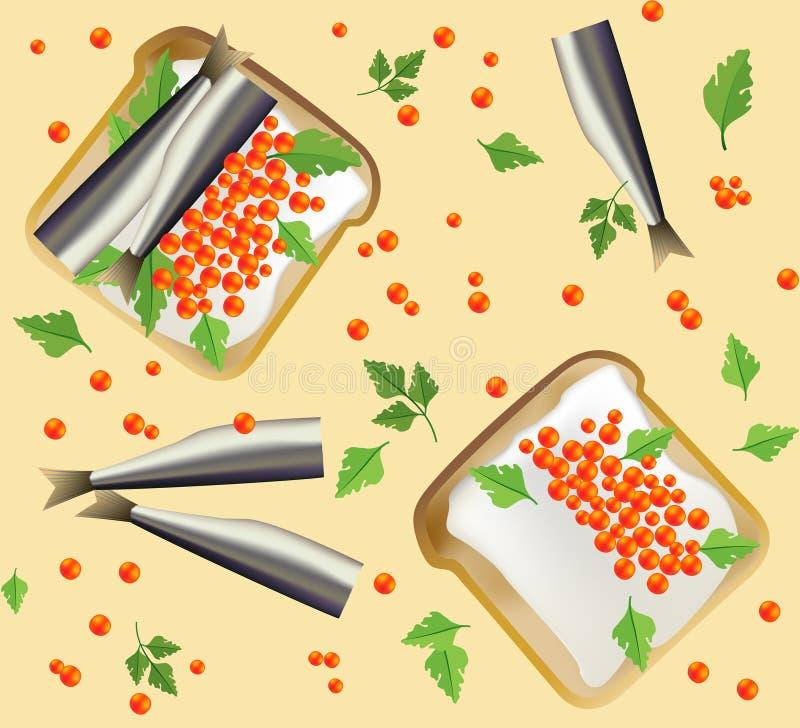 Modèle sans couture avec le petit déjeuner illustration de vecteur