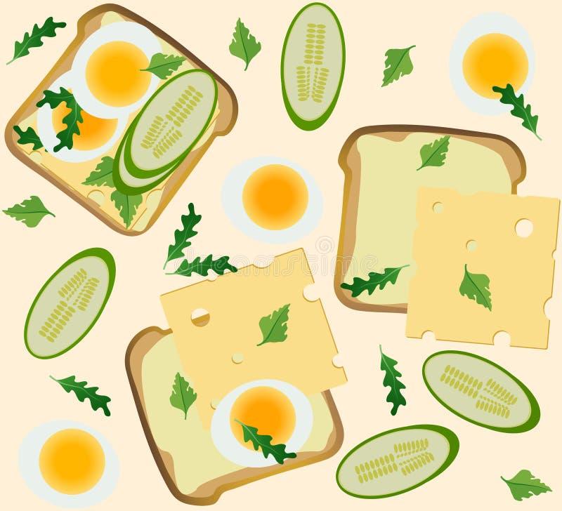 Modèle sans couture avec le petit déjeuner illustration libre de droits