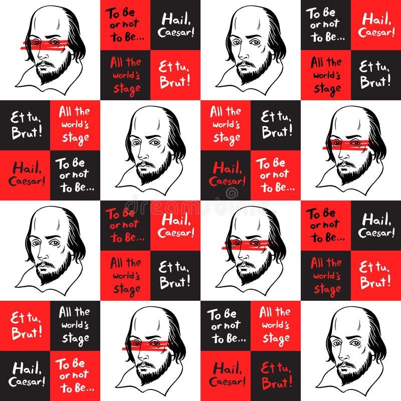 Modèle sans couture avec le portrait et les citations de Shakespeare illustration stock