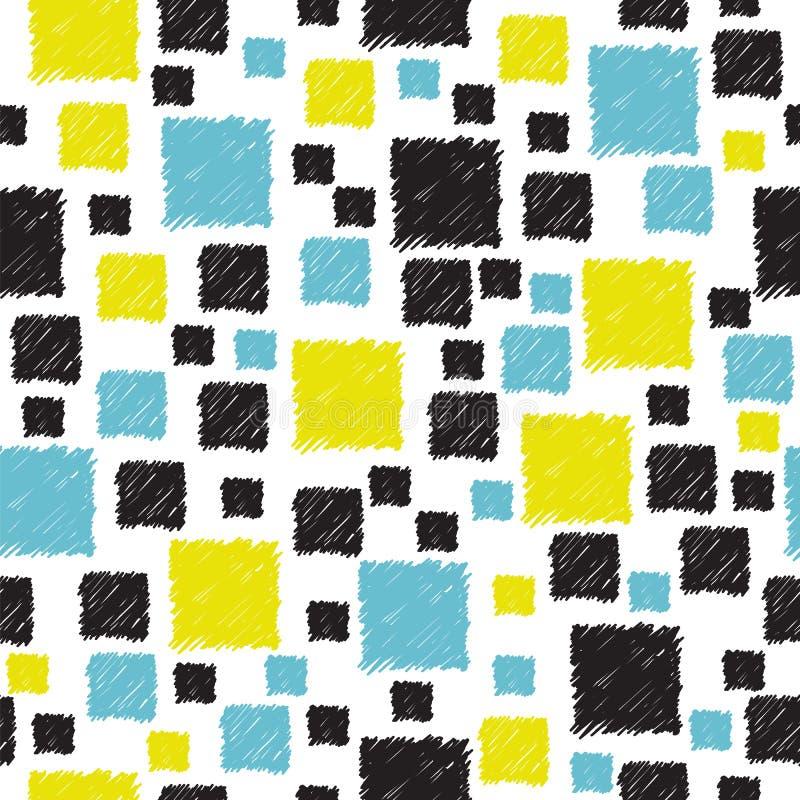 Modèle sans couture avec le résumé bleu, jaune et noir tiré par la main photographie stock