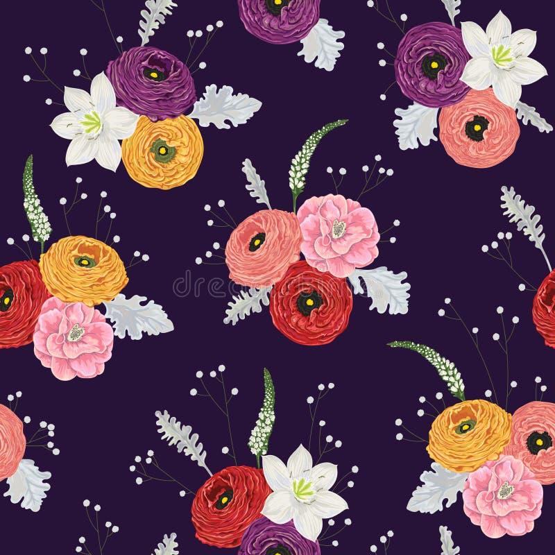 Modèle sans couture avec le ranunculus, les camélias, le lis, les mufliers, le miller poussiéreux et le gypsophila Fond floral de illustration libre de droits