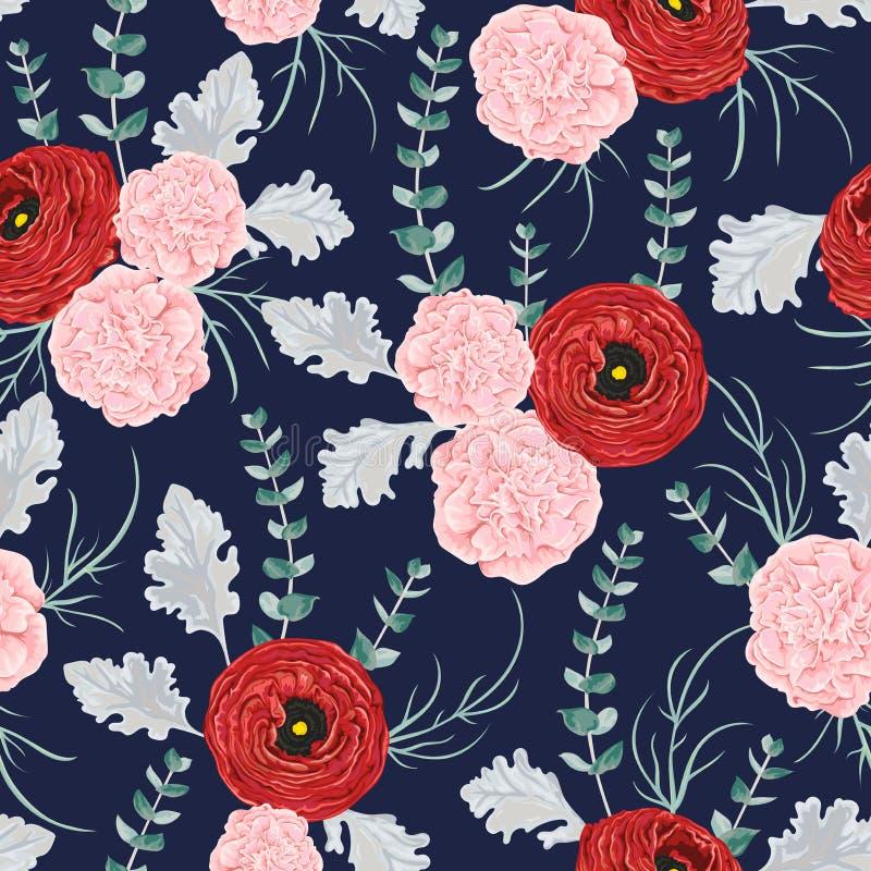 Modèle sans couture avec le ranunculus rouge, les fleurs d'oeillet, l'eucalyptus en spirale et le miller poussiéreux illustration stock