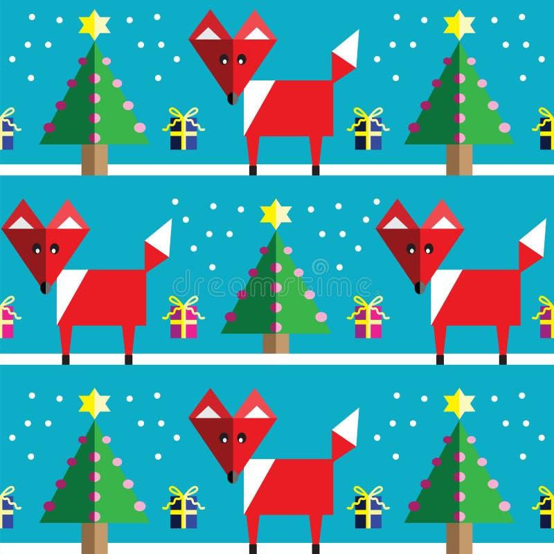 Modèle sans couture avec le renard géométrique, la neige, les arbres de Noël avec des lumières et les cadeaux de Noël de rumeurs  illustration de vecteur