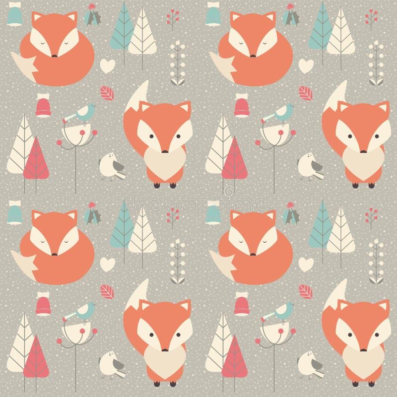 Modèle sans couture avec le renard mignon de bébé de Noël entouré avec la Floride illustration de vecteur