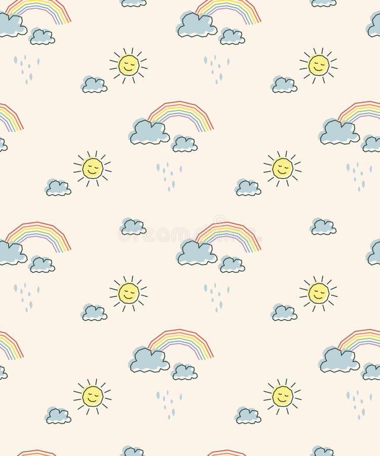 Modèle sans couture avec le soleil, des nuages et des arcs-en-ciel illustration stock