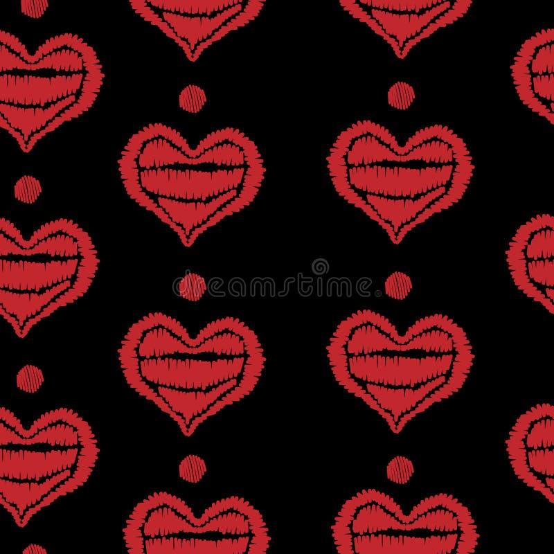 Modèle sans couture avec le stit rouge de broderie de coeur et de point illustration de vecteur