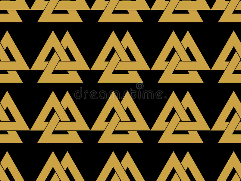 Modèle sans couture avec le symbole du dieu Odin Valknut illustration libre de droits