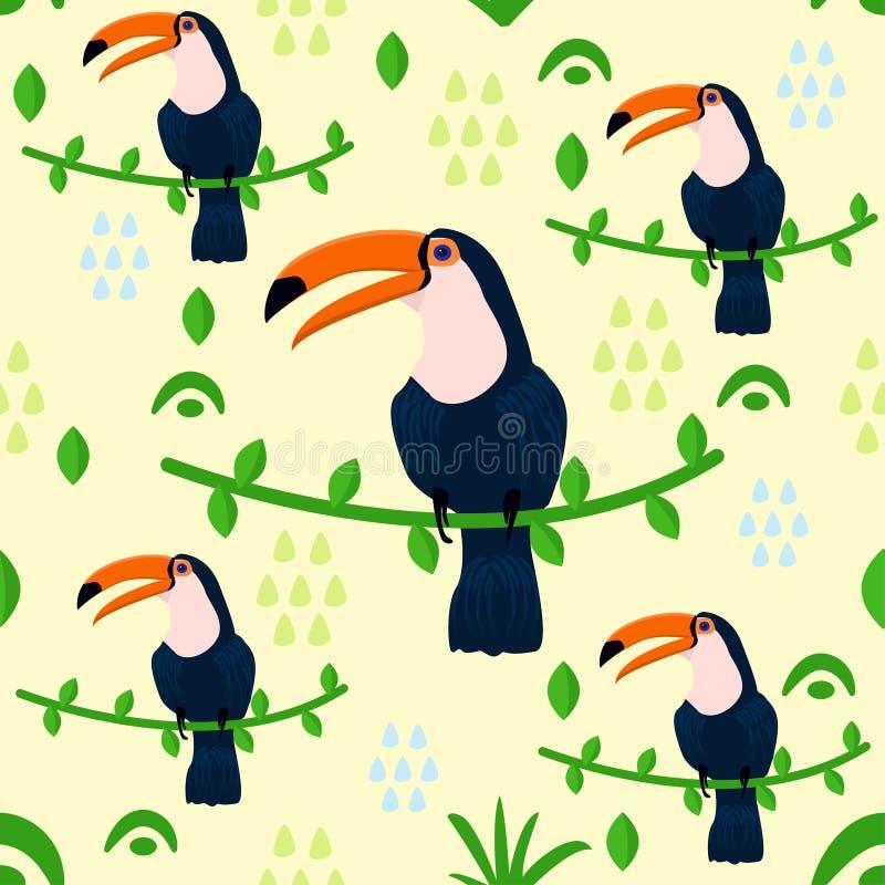 Modèle sans couture avec le toucan - dirigez l'illustration, ENV illustration stock