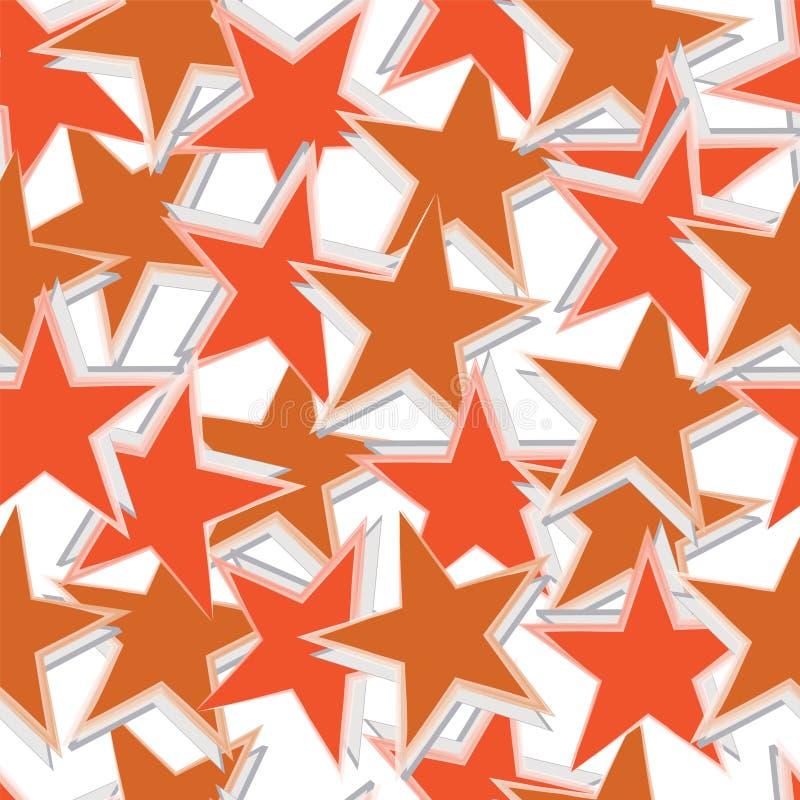 Modèle sans couture avec le vecteur orange et brun d'étoiles illustration de vecteur