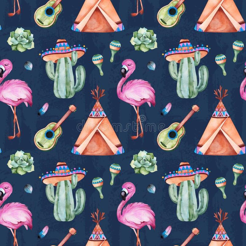 Modèle sans couture avec les éléments ethniques mexicains : cactus, sombrero, maracas, tipi, guitare illustration stock
