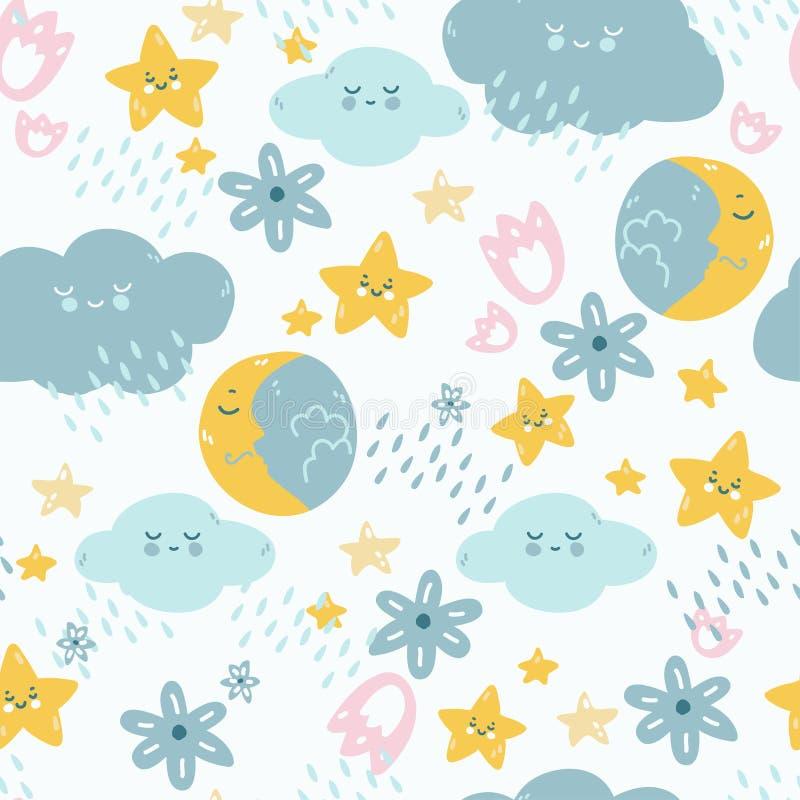 Modèle sans couture avec les éléments, la lune, les nuages, l'étoile, la pluie et les fleurs de bonne nuit de berceuse illustration stock
