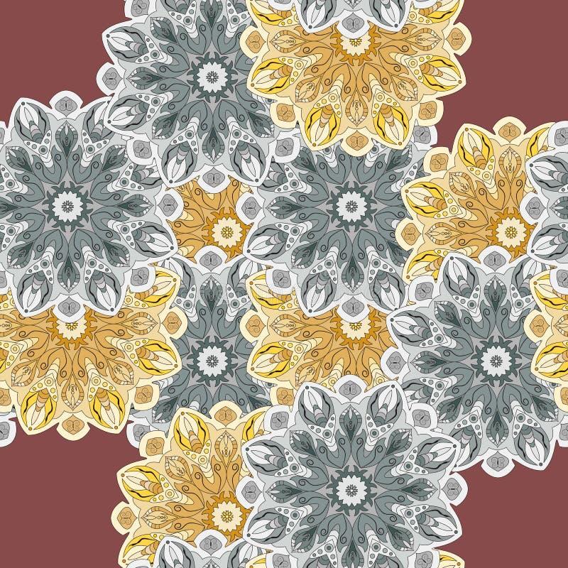 Modèle sans couture avec les éléments romantiques de mandala Texture sans fin pour la conception de ressort de saison images libres de droits