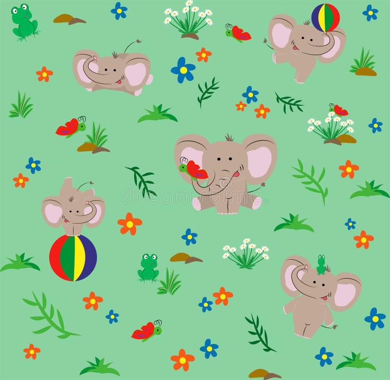 Modèle sans couture avec les éléphants gentils de main-dessin Type de dessin animé Illustration de vecteur illustration de vecteur