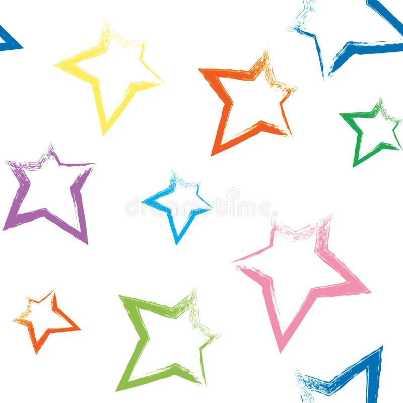 Modèle sans couture avec les étoiles peintes par brosse illustration de vecteur