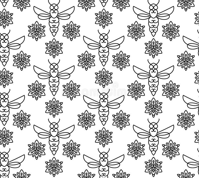 Download Modèle Sans Couture Avec Les Abeilles Oranges Dans Le Style De Monoline Illustration de Vecteur - Illustration du mignon, normal: 87702335