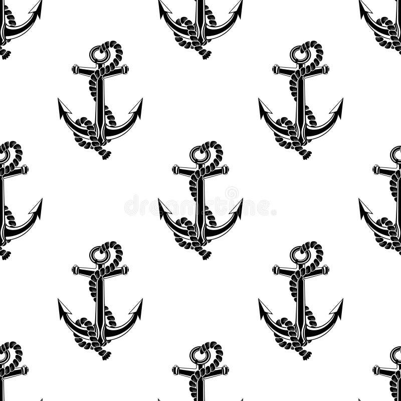 Modèle sans couture avec les ancres noires illustration libre de droits