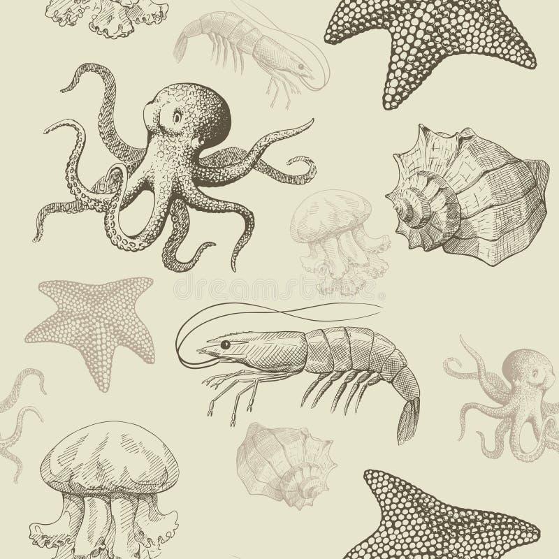 Modèle sans couture avec les animaux aquatiques illustration stock