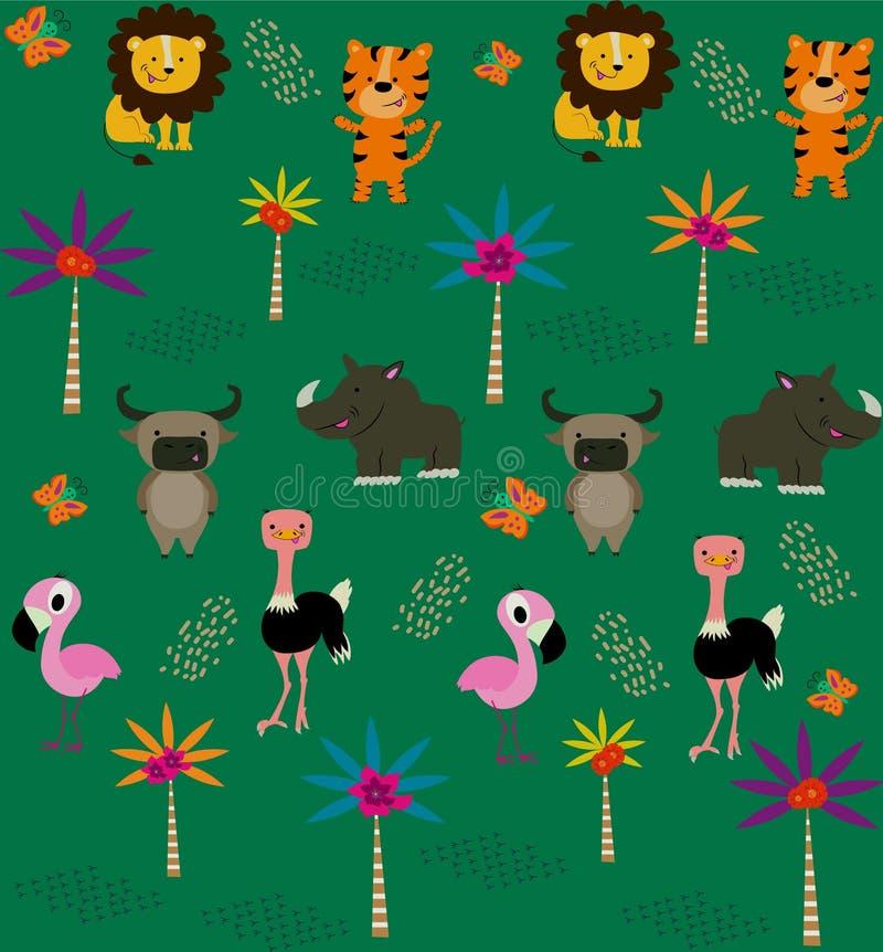 Modèle sans couture avec les animaux tropicaux mignons illustration de vecteur