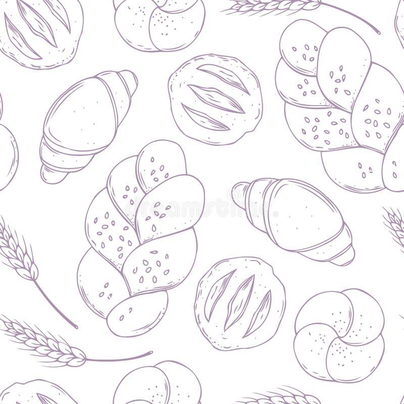 Modèle sans couture avec les articles de boulangerie tirés par la main Nourriture de cuisson Fond culinaire illustration de vecteur