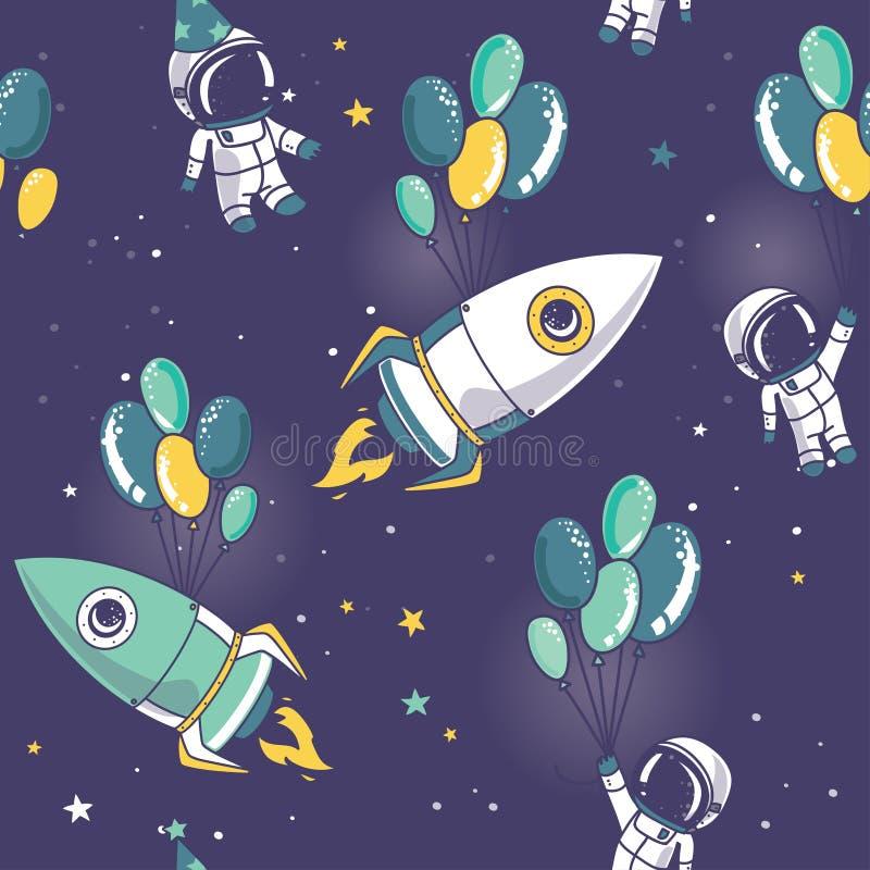 Modèle sans couture avec les astronautes et les fusées mignons sur des ballons dans l'espace illustration de vecteur