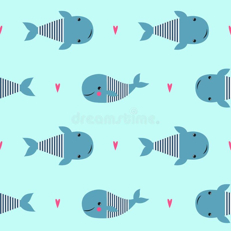 Modèle sans couture avec les baleines mignonnes de bande dessinée sur le fond vert en bon état illustration libre de droits