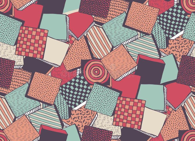 Modèle sans couture avec les blocs abstraits tirés par la main illustration stock