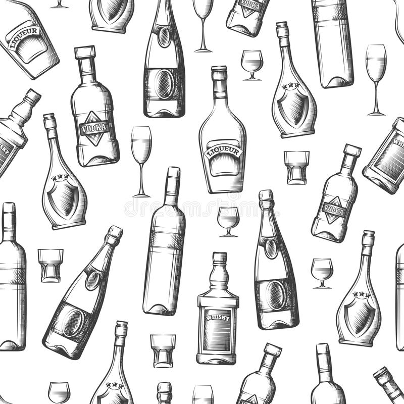 Modèle sans couture avec les boissons alcoolisées illustration libre de droits