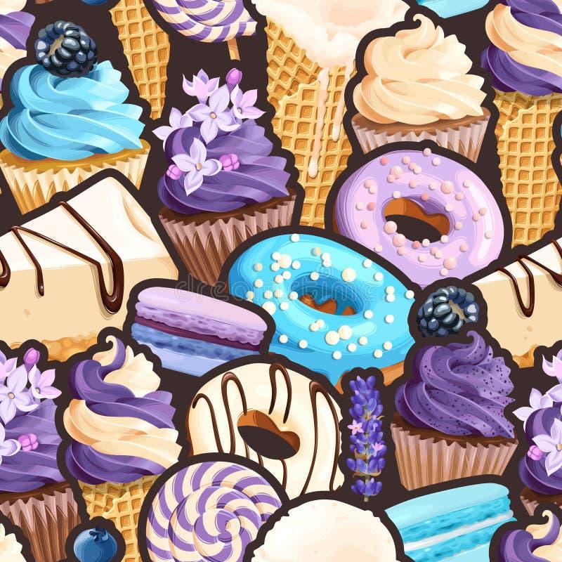 Modèle sans couture avec les bonbons lilas et bleus illustration de vecteur