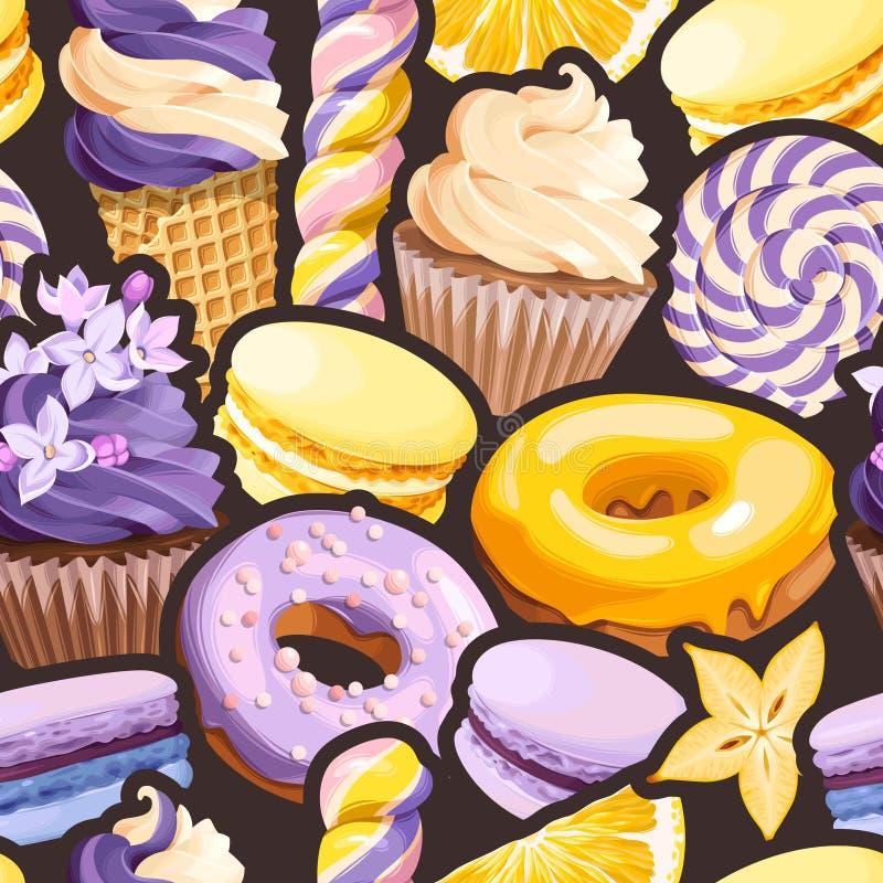 Modèle sans couture avec les bonbons lilas et jaunes illustration libre de droits