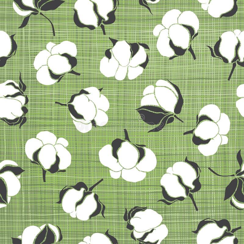 Modèle sans couture avec les bourgeons mous de coton Fond floral de vecteur illustration de vecteur