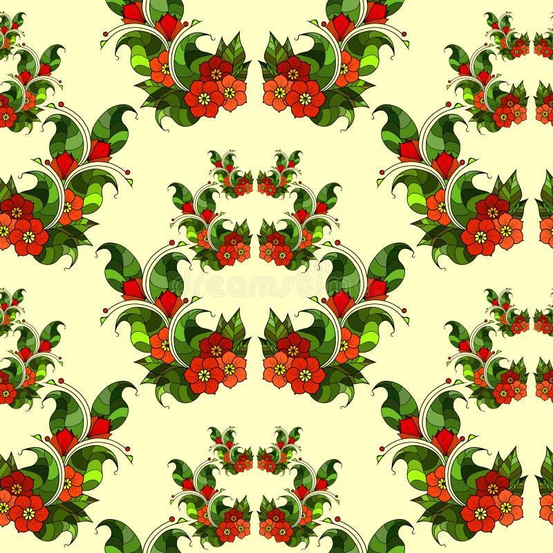 Modèle sans couture avec les branches abstraites avec des fleurs Vecteur image stock