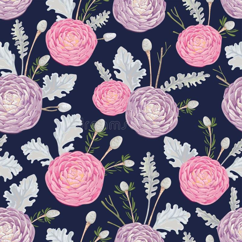 Modèle sans couture avec les camélias roses et pourpres, le miller poussiéreux et le brunia d'argent illustration libre de droits