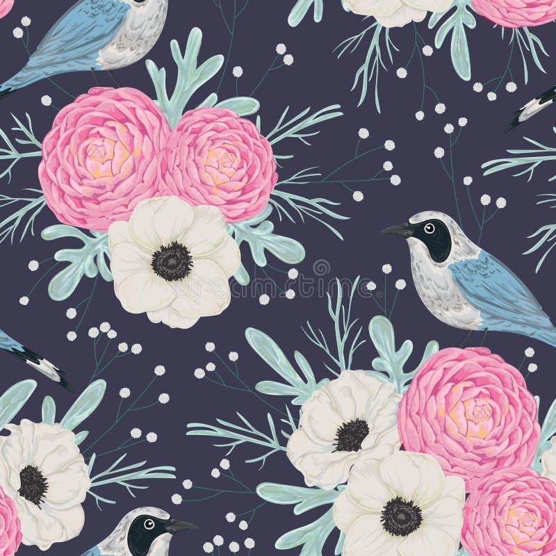 Modèle sans couture avec les camélias roses, les fleurs blanches d'anémone, le miller poussiéreux, le gypsophila et les oiseaux illustration stock