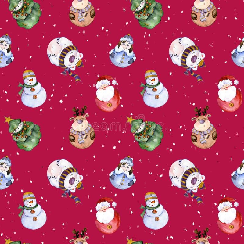 Modèle sans couture avec les caractères drôles de Noël illustration de vecteur