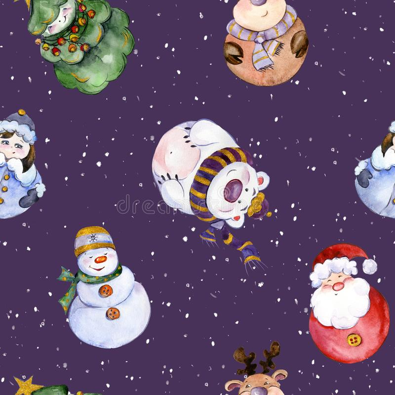 Modèle sans couture avec les caractères drôles de Noël illustration stock