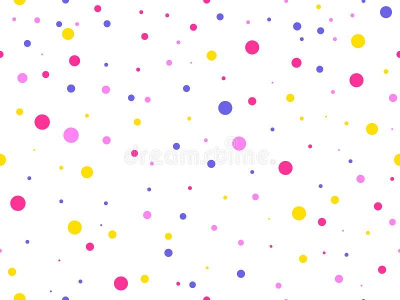 Modèle sans couture avec les cercles colorés Fond de célébration avec des points Vecteur illustration de vecteur