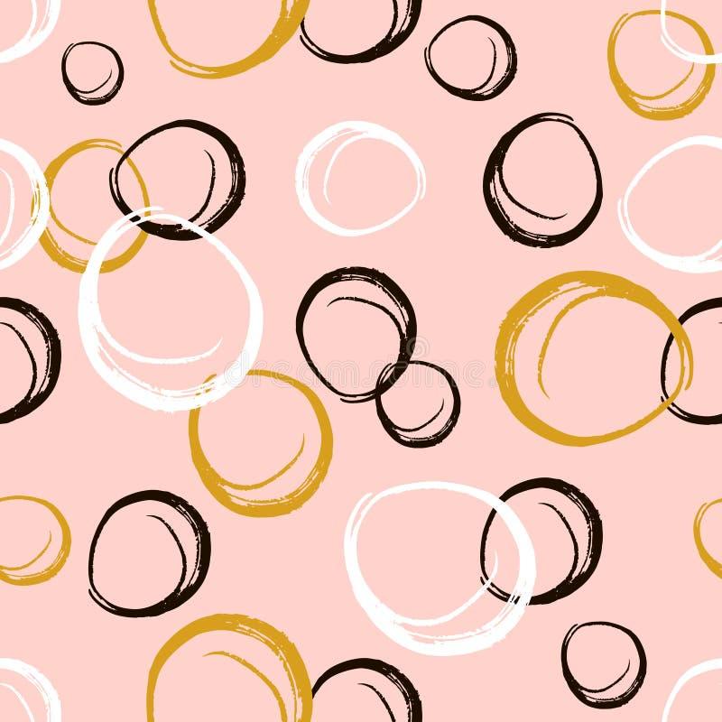 Modèle sans couture avec les cercles tirés par la main d'encre Noir et blanc abstrait Illustration de vecteur illustration libre de droits