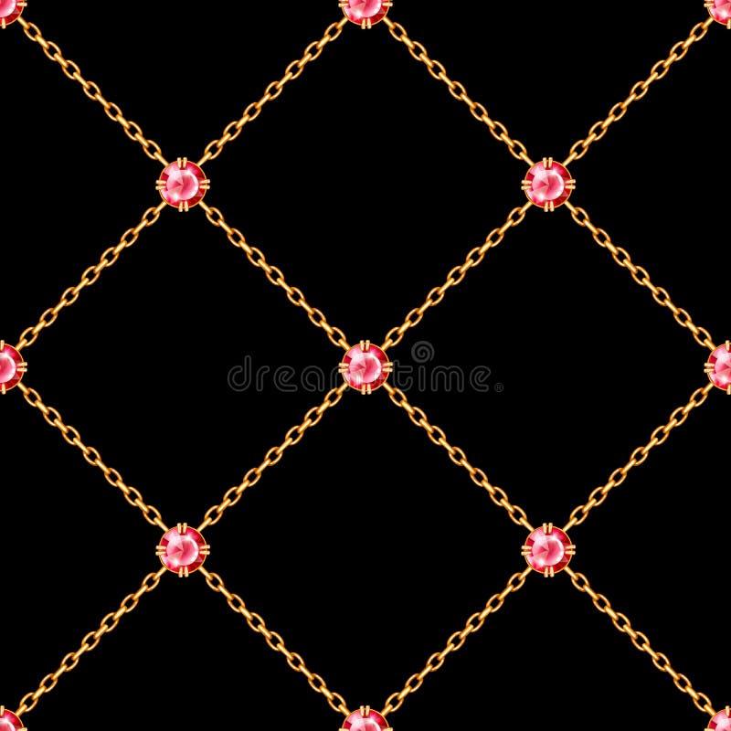 Modèle sans couture avec les chaînes d'or croisées et les pierres gemmes rondes rouges illustration stock