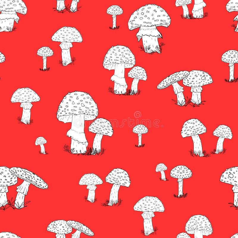 Modèle sans couture avec les champignons tirés par la main sur le fond rouge photos stock