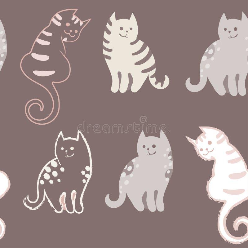 Modèle sans couture avec les chats mignons de griffonnage de bande dessinée sur le fond brun Petits chatons colorés Animaux drôle illustration libre de droits