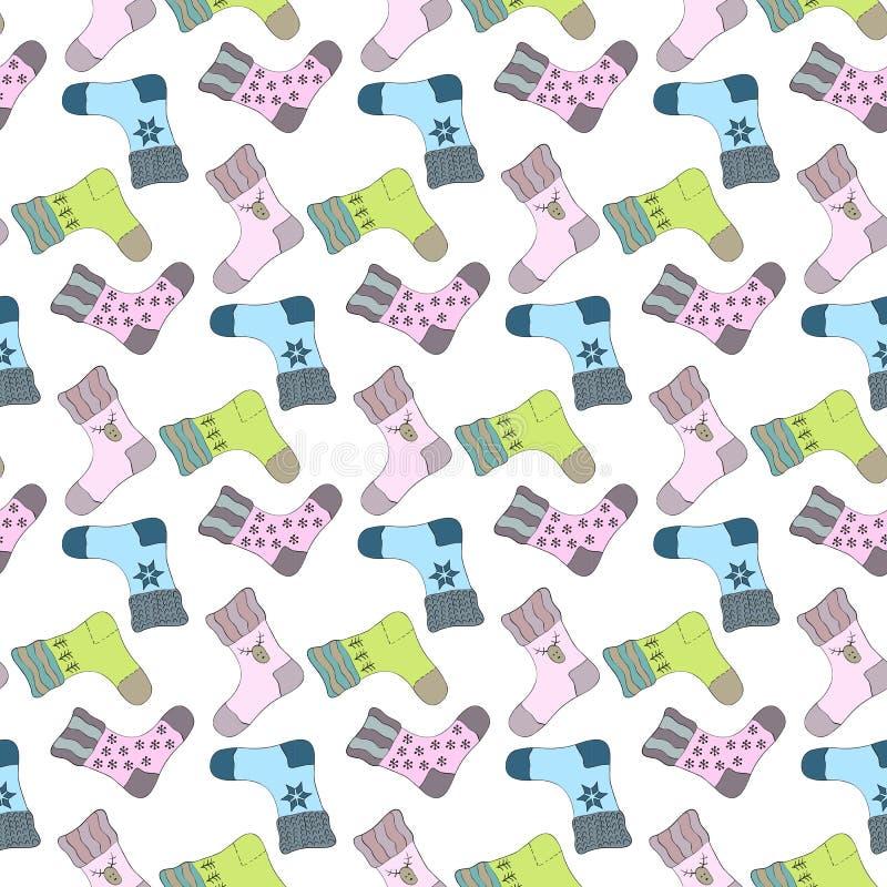 Modèle sans couture avec les chaussettes colorées illustration stock