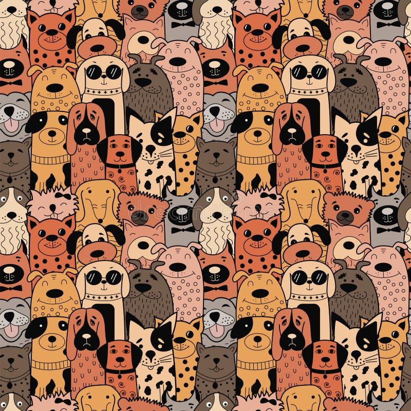 Modèle sans couture avec les chiens drôles de griffonnage illustration de vecteur