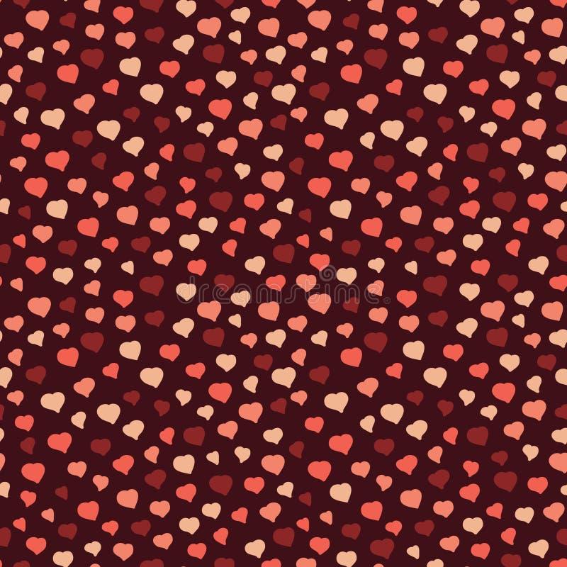 Modèle sans couture avec les coeurs bruns, fond de Valentine Day illustration stock