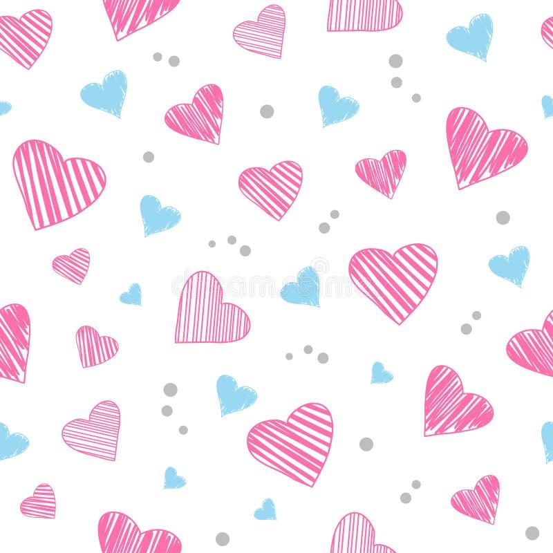 Modèle sans couture avec les coeurs rose-clair et bleus Illustration de vecteur illustration stock