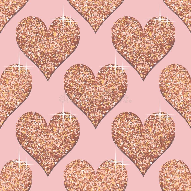 Modèle sans couture avec les coeurs roses d'or Fond texturisé métallique d'or rose Le calibre à la mode pour des vacances conçoit illustration libre de droits