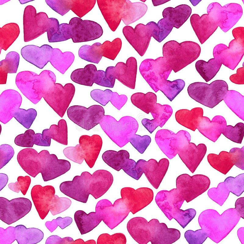 Modèle sans couture avec les coeurs rouges, roses et violets d'aquarelle Conception romantique D'isolement sur le fond blanc Main illustration libre de droits