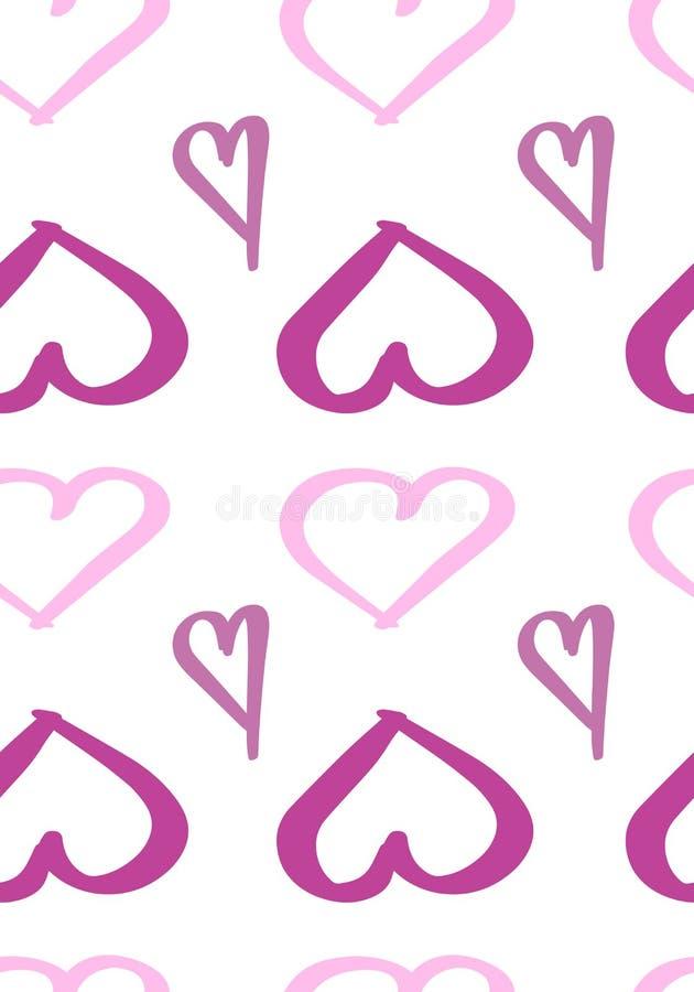 Modèle sans couture avec les coeurs tirés par la main illustration stock